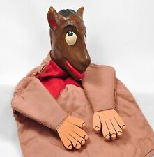 """Vintage Horse Hand Glove Puppet Wooden and Fabric 11.5"""""""