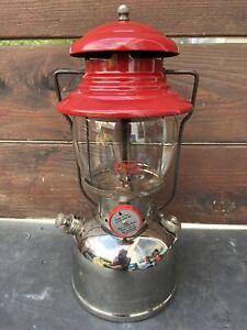 VINTAGE LANTERN COLEMAN RED CHROME MODEL 200 6-1957 JUNE 1957 GLASS USA