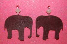 Alabama Crimson Elephant Genuine Leather Earrings--925 Sterling Silver Hooks