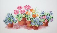 Variety of Flowers Floral in Garden Pots Cross Stitch Completed Finished