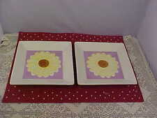 Sunflower Square Salad Plates 2 Total Use Flower Plates For Tidbits Ceramic NEW