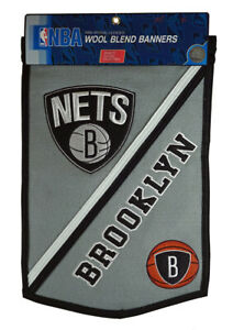 Brooklyn Nets NBA Embroidered Wool Traditions 12x18 Mini Banner Flag
