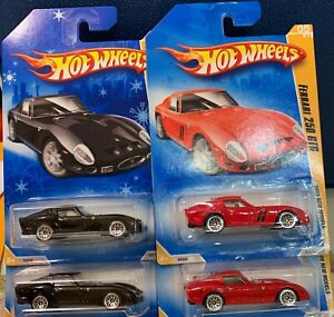 HOT WHEELS FERRARI 250 GTO 2 RED AND 2 BLACK WITH A TARGET EXCL. SNOWFLAKE CARD