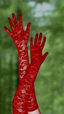 Valentines Gift Womens Lingerie 50's Vintage Long Red Lace Gloves Basque