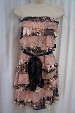 Aqua Dresses Sz 10 Blush Pink Navy Chiffon Lace Tiered Strapless Cocktail Dress