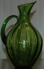 "Mid Century Blenko 991 Winslow Anderson Lime Green Ribbed Pitcher Vase 13"" Tall"