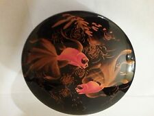 Japanese oriental Koi fish black round trinket jewelry box vintage 4 3/4 x 2 1/4