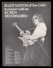1979 The Cars Elliot Easton photo BC Rich Bich guitar vintage print ad