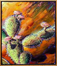 Gustavo Novoa OPUNTIA CACTI Signed Original Painting on Canvas, cactus flowers