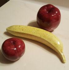 Vintage Lot of 3 Ceramic Decorative Realistic Fruit * Banana Plum Apple