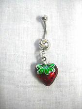 FOODIE PLUMP 2 SIDED COLOR ENAMEL STRAWBERRY FRUIT CHARM CLEAR CZ 14g BELLY RING