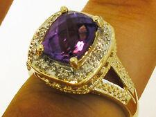 R175- Genuine 9ct Yellow Gold NATURAL Purple Amethyst & Diamond Ring size N