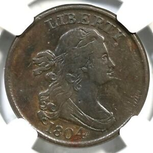 1804 C-5 R-4 NGC XF 40 Spiked Chin Draped Bust Half Cent Coin 1/2c