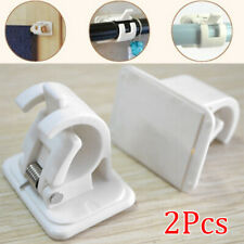 2Pcs Curtain Rods White Hanger Crossbar Curtain Clips Wall Hooks New