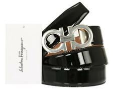 SALVATORE FERRAGAMO DOUBLE GANCIO BLACK PATENT LEATHER BELT ADJUSTABLE ALL SIZES