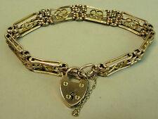 EDWARDIAN ANTIQUE 9K ROSE & YELLOW GOLD FANCY LINK GATE BRACELET C.1910 - 22.7 G