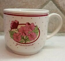 PAPEL POTTERY Geraniums Coffee Cup Mug Hand Decorated Floral - 12 Fl. Oz.