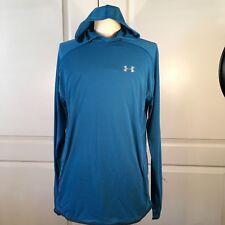 Under Armour Mens Large Running Shirt Hooded Threadbourne Mesh Long Sleeve Blue
