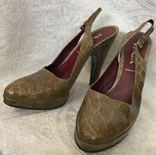 Prada Shoe Taupe Crocodile Sling Back Buckle Platform Pump Size 37