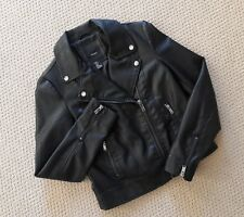 FOREVER 21 Faux Leather Moto Jacket with Zippers (Black) Small