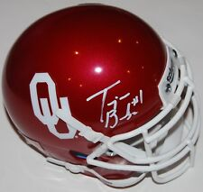 TREJAN BRIDGES signed (OKLAHOMA SOONERS) autographed mini football helmet W/COA