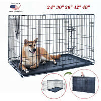 "24""30""36""42""48"" Dog Crate Kennel Folding Metal Pet Cage 2 Door With Tray Black"
