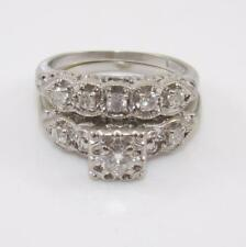 Vintage Antique 14K White Gold Art Deco Wedding Band Engagement Ring Set Sz 6.5