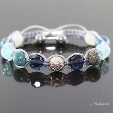 Karibik Blue Damen Shambala Armband  Natursteinen Facetten Kristall für Frauen