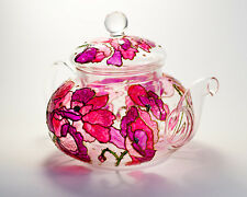 Hand Painted Floral Teapot Wildflowers Poppy Personalized Glass Tea Pot Infuser