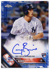 GREG BIRD 2016 TOPPS CHROME BLUE REFRACTOR AUTOGRAPH #/150 AUTO ROOKIE RC YANKS!