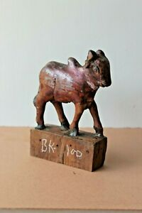 Antique Hand Made Wooden Home Decorative Old Toy Cow / Nandi Figure BK-100