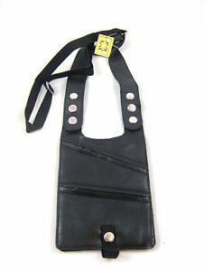 REAL LEATHER SHOULDER HOLSTER MONEY BAG BELT WALLET TRAVEL SECURITY BELT BLACK