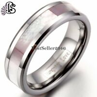 6MM Women Pink Abalone Shell Tungsten Rings Comfort Fit Wedding Band Size 4-13