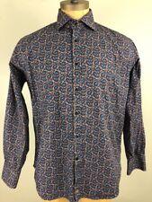 Men's Thomas Dean Button Front Dress Shirt Size Large Paisley Flip Cuffs