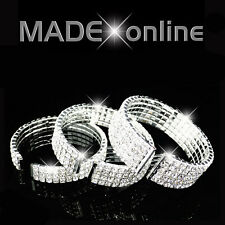 Silver plated Diamante Diamonte sprung Cuff Bracelet sparkly crystal bling
