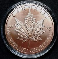 2018 1 oz Cannabis Copper Round Silver Shield Weed Pot Marijuana Free Capsule