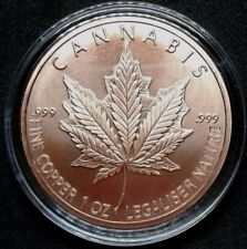 2017 1 oz Cannabis Copper Round Silver Shield_Weed Pot Marijuana Copper Round
