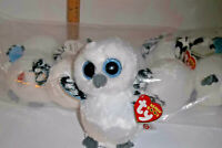 "RETIRED TY beanie Baby Babies Boos Boo's Spells Snow Owl White 6"" big eyes MWMT"