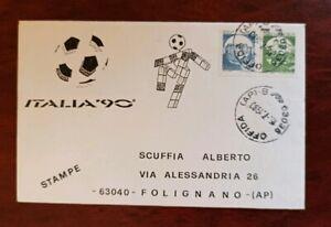 Mondiali calcio Italia 90, lettera  mascotte e FDC cavallino Campione del Mondo
