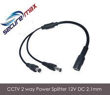 2 way CCTV Power Splitter 12V DC 2.1mm UK Seller Camera Power Cable