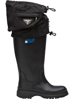 PRADA GAITER BOOTS LEATHER NYLON 2 IN1 RAINBOOTS REGEN STIEFEL SHOES SCHUHE 39