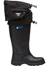 Prada Gaiter Boots Leather Nylon 2 IN1 Rainboots Rain Boots Shoes Shoes 37