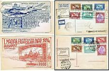 2 Hungary 1924 Airmail Blue&Red Postcards Budapest-Esztergom & Return 7000K each