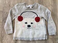 Old Navy 5T Girls Polar Bear Crewneck Sweater Knitted 5 Yrs Gray