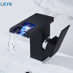 LED Waterfall Kitchen Bathroom Basin Faucet Temperature Color Change Sink Taps