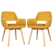 Set of 2 Modern Accent Armchairs Velvet Fabric Leisure Chairs Club Guest Yellow