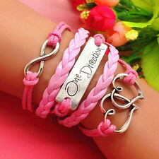 infinity One direction Heart Leather Charm Bracelet plated Silver Gift cavnc