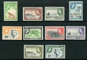 British QEII Nyasaland Sc #97-106 Complete Set Mint Y491