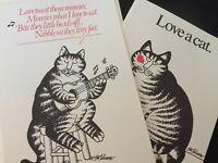 5 Vintage 1977 KLIBAN Cat Unused Greeting Cards