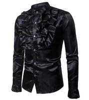 Mens Satin Silk Blend Flowers Frilly Long Sleeves Stand Collar Singer Shirts @